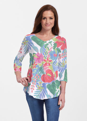 Hawaiian Fling (22141) ~ V-neck Flowy Tunic