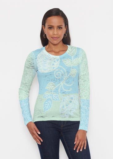 Stamped Floral Aqua (22150) ~ Signature Long Sleeve Crew Shirt