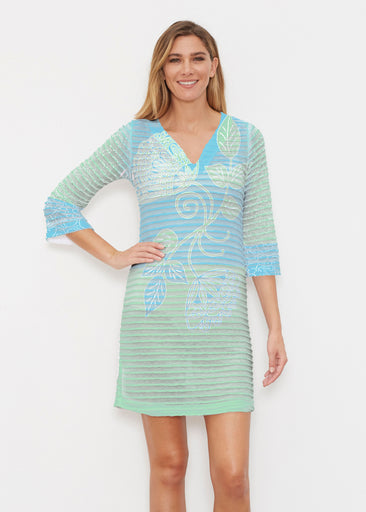 Stamped Floral Aqua (22150) ~ Banded 3/4 Sleeve Cover-up Dress