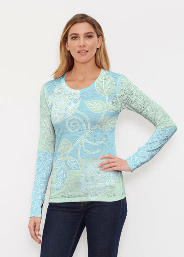 Stamped Floral Aqua (22150) ~ Thermal Long Sleeve Crew Shirt