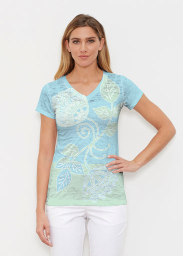 Stamped Floral Aqua (22150) ~ Signature Cap Sleeve V-Neck Shirt