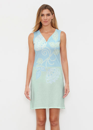 Stamped Floral Aqua (22150) ~ Classic Sleeveless Dress