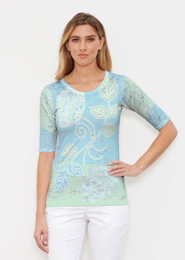 Stamped Floral Aqua (22150) ~ Signature Elbow Sleeve Crew Shirt