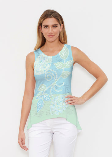 Stamped Floral Aqua (22150) ~ Signature High-low Tank