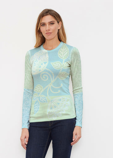 Stamped Floral Aqua (22150) ~ Butterknit Long Sleeve Crew Top