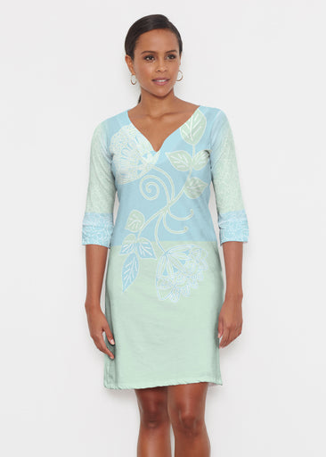 Stamped Floral Aqua (22150) ~ Classic 3/4 Sleeve Sweet Heart V-Neck Dress