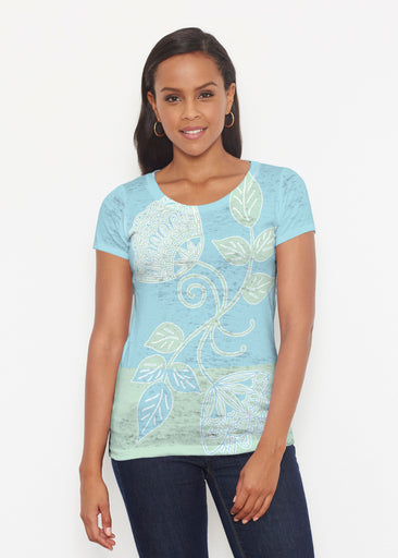 Stamped Floral Aqua (22150) ~ Signature Short Sleeve Scoop Shirt