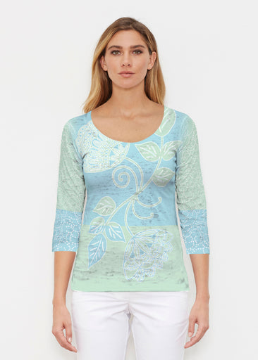 Stamped Floral Aqua (22150) ~ Signature 3/4 Sleeve Scoop Shirt