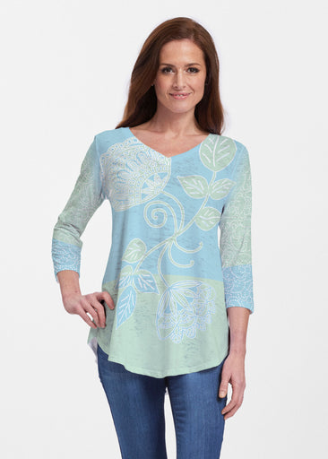 Stamped Floral Aqua (22150) ~ Signature V-neck Flowy Tunic