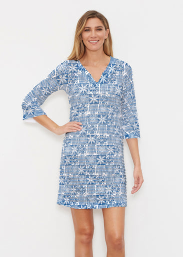 Hibiscus Block Navy (2261) ~ Banded 3/4 Sleeve Cover-up Dress