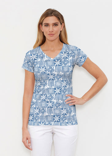 Hibiscus Block Navy (2261) ~ Signature Cap Sleeve V-Neck Shirt
