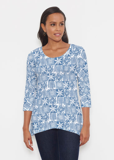 Hibiscus Block Navy (2261) ~ Katherine Hi-Lo Thermal Tunic