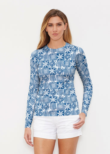 Hibiscus Block Navy (2261) ~ Long Sleeve Rash Guard
