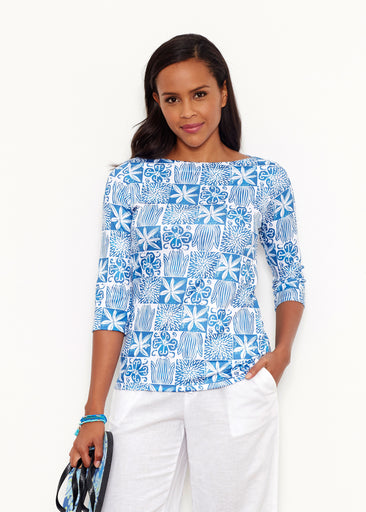 Hibiscus Block Navy (2261) ~ Safe Sun Boatneck