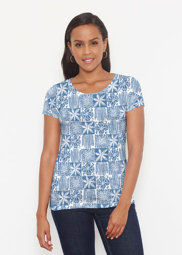 Hibiscus Block Navy (2261) ~ Short Sleeve Scoop Shirt