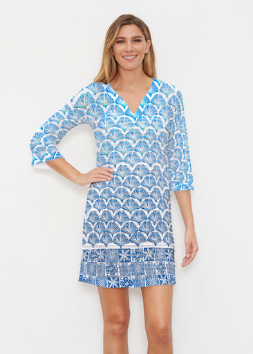 Faded Leaf Blue (2265) ~ Banded 3/4 Sleeve Cover-up Dress
