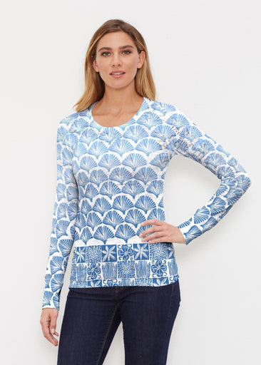 Faded Leaf Blue (2265) ~ Thermal Long Sleeve Crew Shirt