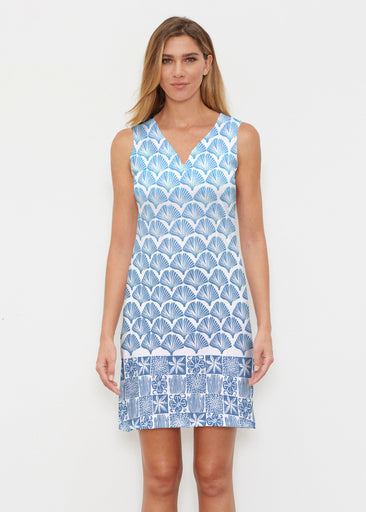 Faded Leaf Blue (2265) ~ Classic Sleeveless Dress