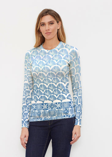 Faded Leaf Blue (2265) ~ Sweaterknit Long Sleeve Crew Top