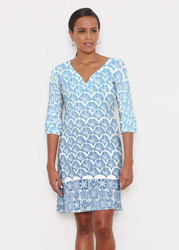 Faded Leaf Blue (2265) ~ Classic 3/4 Sleeve Sweet Heart V-Neck Dress