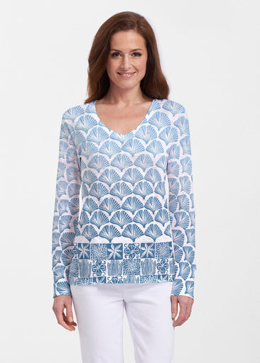 Faded Leaf Blue (2265) ~ Thermal Long Sleeve V-Neck Shirt