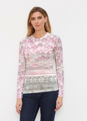 Shells Pink (2284) ~ Sweaterknit Long Sleeve Crew Top