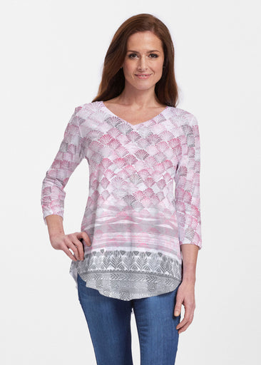 Shells Pink (2284) ~ V-neck Flowy Tunic
