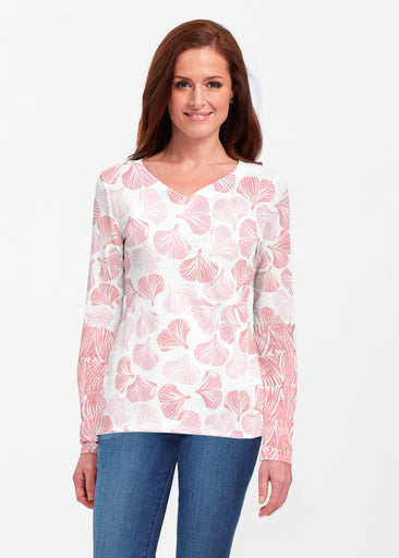 Ginglo Pink (2290) ~ Classic V-neck Long Sleeve Top