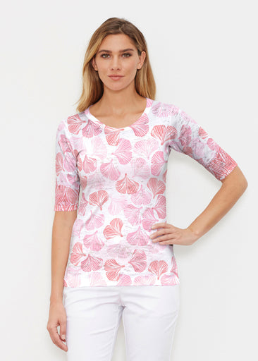 Ginko Pink (2290) ~ Elbow Sleeve Crew Shirt
