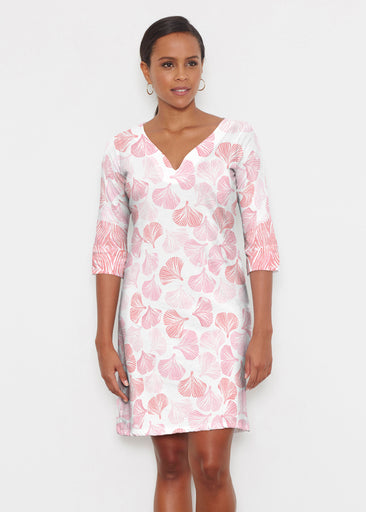 Ginko Pink (2290) ~ Classic 3/4 Sleeve Sweet Heart V-Neck Dress