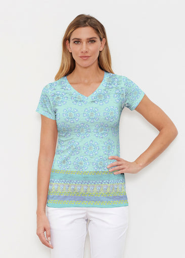 Maui Aqua (2298) ~ Signature Cap Sleeve V-Neck Shirt
