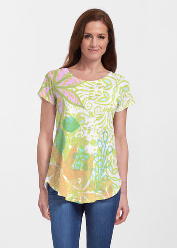 Kauai Lime (2301) ~ Signature Short Sleeve Scoop Neck Flowy Tunic