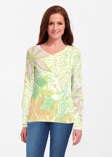 Kauai Lime (2301) ~ Classic V-neck Long Sleeve Top