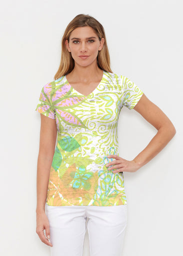 Kauai Lime (2301) ~ Signature Cap Sleeve V-Neck Shirt