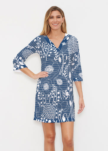 Conservatory Navy (23040) ~ Banded 3/4 Sleeve Cover-up Dress