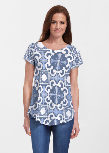 Portuguese Blue (25004) ~ Signature Short Sleeve Scoop Neck Flowy Tunic