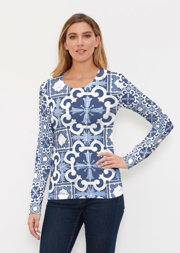 Portuguese Blue (25004) ~ Thermal Long Sleeve Crew Shirt
