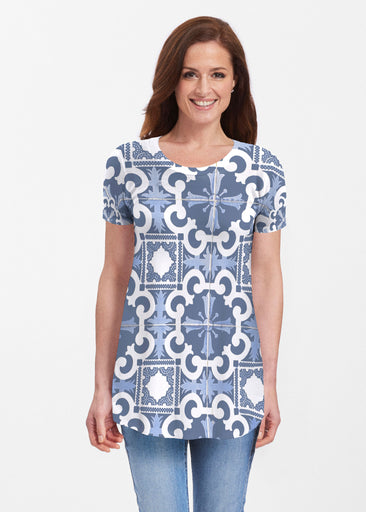 Portuguese Blue (25004) ~ Butterknit Short Sleeve Tunic
