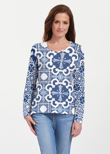 Portuguese Blue (25004) ~ Texture Mix Long Sleeve