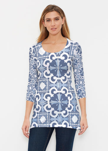 Portuguese Blue (25004) ~ Buttersoft 3/4 Sleeve Tunic