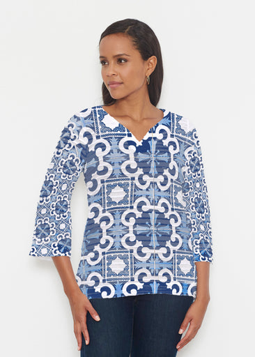 Portuguese Blue (25004) ~ Banded 3/4 Bell-Sleeve V-Neck Tunic