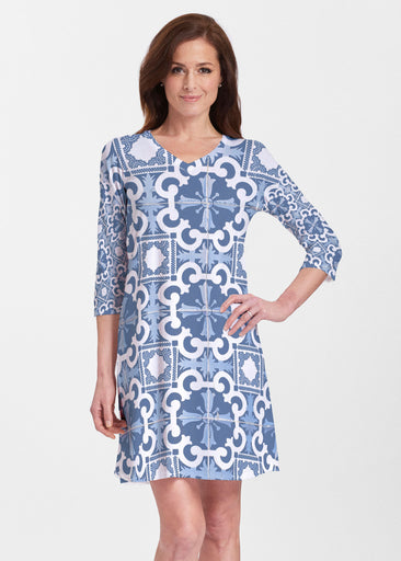 Portuguese Blue (25004) ~ V-neck Swing Dress