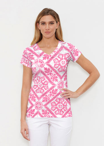 Pink Antiquity (25007) ~ Signature Cap Sleeve V-Neck Shirt