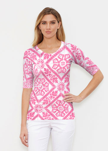 Pink Antiquity (25007) ~ Elbow Sleeve Crew Shirt