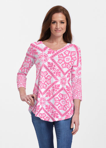 Pink Antiquity (25007) ~ V-neck Flowy Tunic