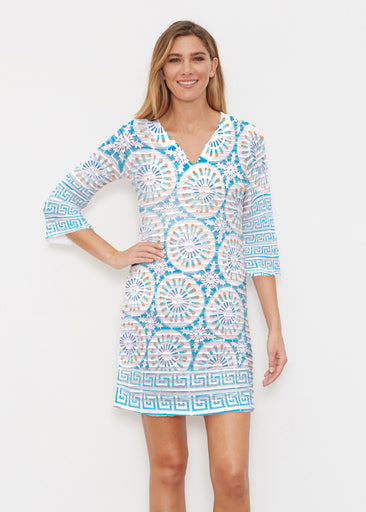 Luso-Moroccan Aqua (25008) ~ Banded 3/4 Sleeve Cover-up Dress
