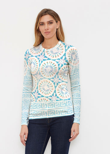 Luso-Moroccan Aqua (25008) ~ Butterknit Long Sleeve Crew Top