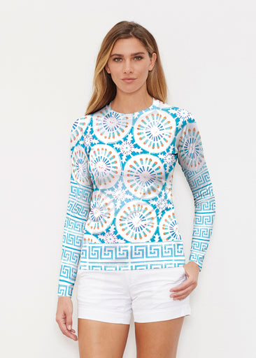 Luso-Moroccan Aqua (25008) ~ Long Sleeve Rash Guard