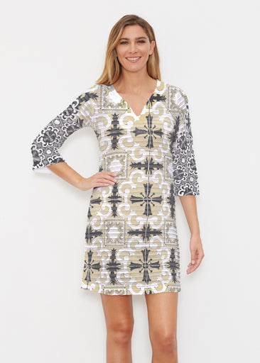 Portuguese Gold (25010) ~ Banded 3/4 Sleeve Cover-up Dress
