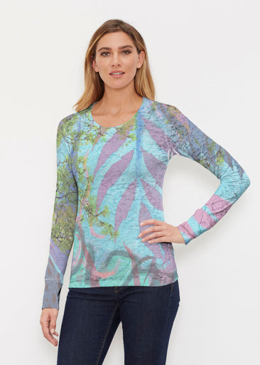 Urban Flora Aqua (25017) ~ Thermal Long Sleeve Crew Shirt